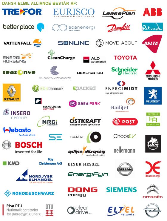 dansk elbil alliance består af følgende mærker