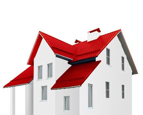 et rødt tag på et hvidt og karikeret hus